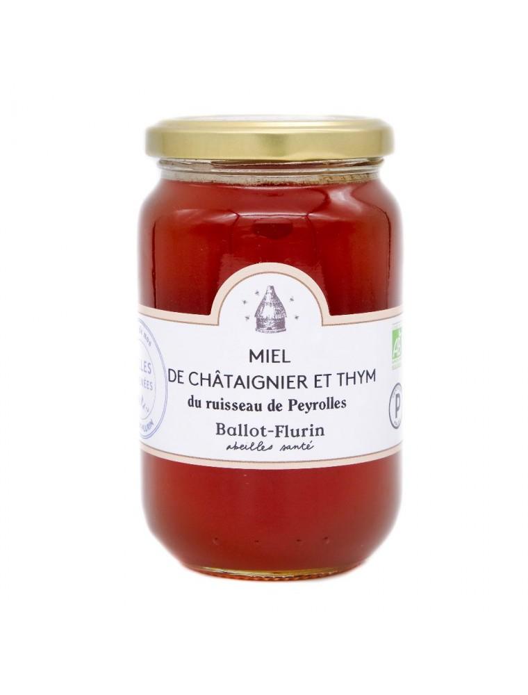 Miel de Châtaignier et Thym Bio 480g - Miel doux et rare - Ballot-Flurin