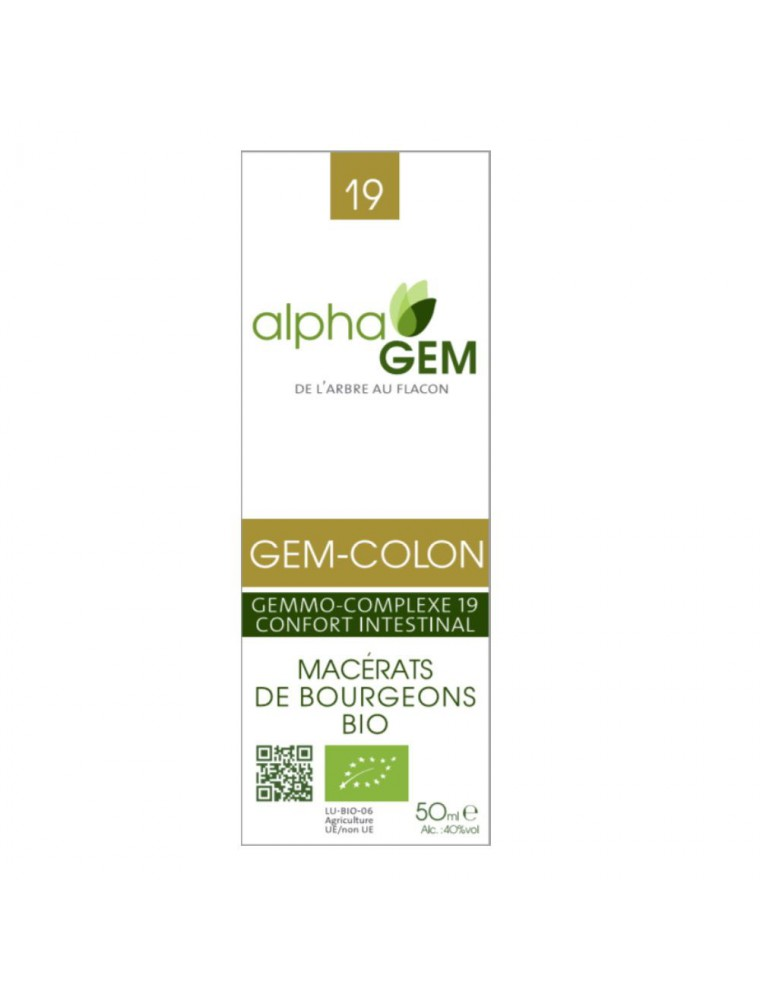 Gem-Colon Complexe n°19 Bio - Confort intestinal 50 ml - Alphagem