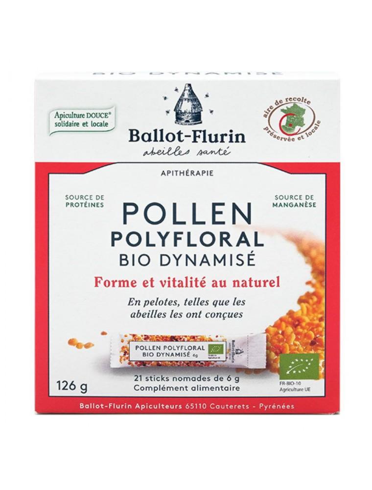 Pollen polyfloral dynamisé en sticks Bio - Stimulant physique, intellectuel et émotionnel 21 sticks nomades - Ballot-Flurin