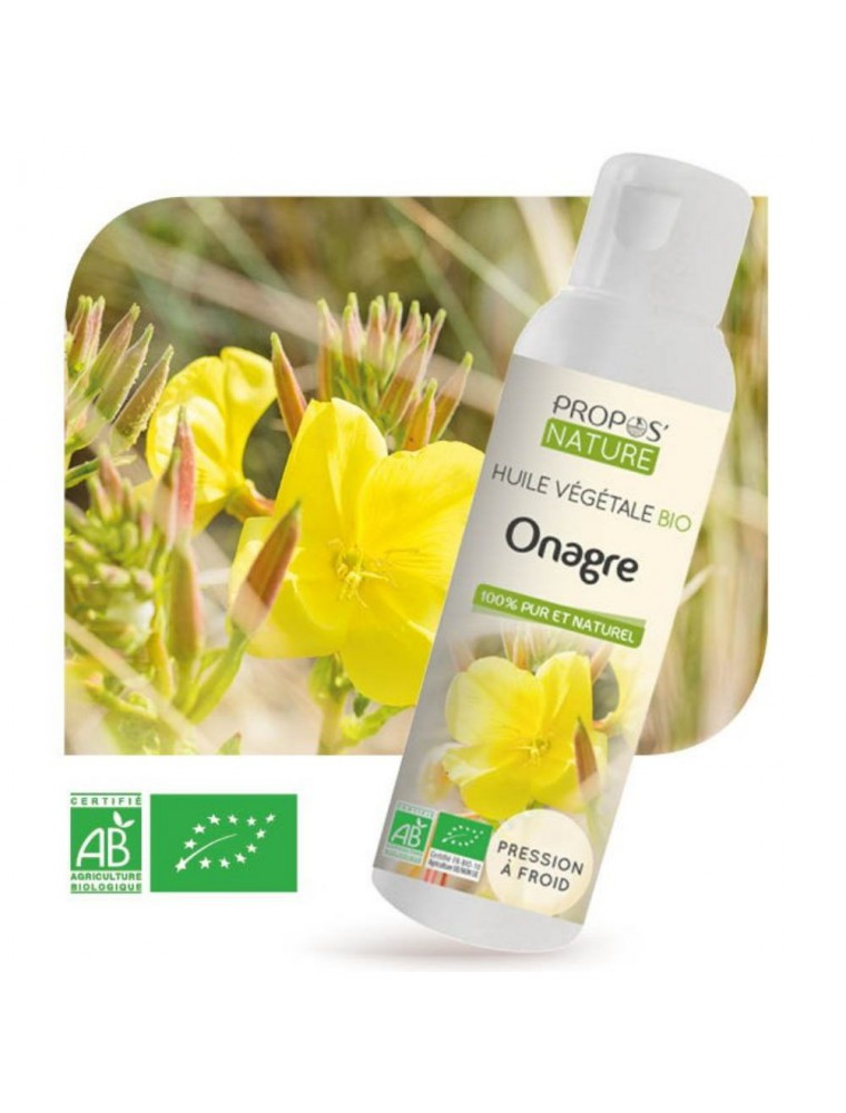 Onagre Bio - Huile végétale d'Oenothera biennis 100 ml - Propos Nature