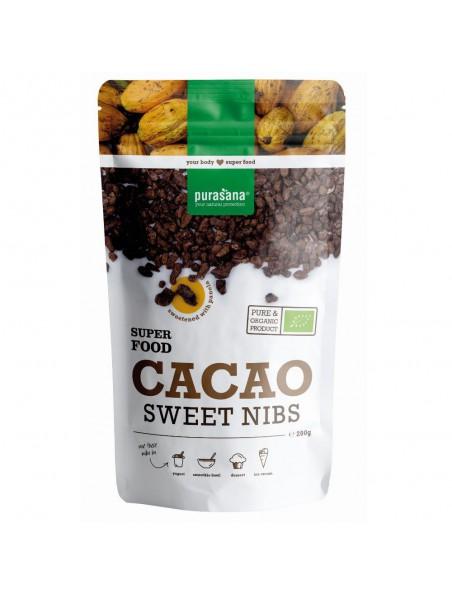 Eclats de Fèves de Cacao sucrées Bio - Magnésium & Antioxydants 200g - Purasana