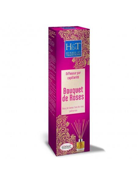 Bouquet de roses Bio - Diffuseur par capillarité et recharges 100 ml - Herbes et Traditions