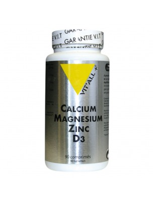Calcium Magnésium Zinc D3 - Ossature Saine 90 comprimés - Vit'all+