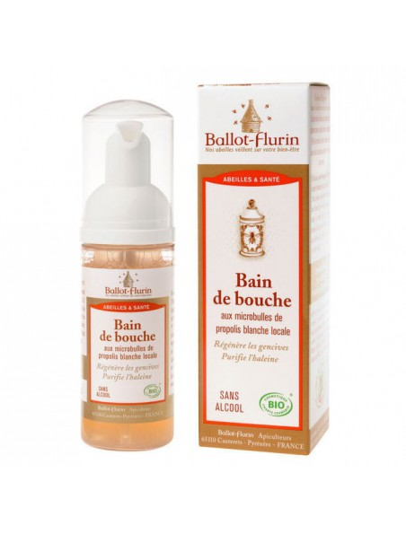 Bain de bouche aux microbulles de propolis blanche locale - 50 ml - Ballot-Flurin