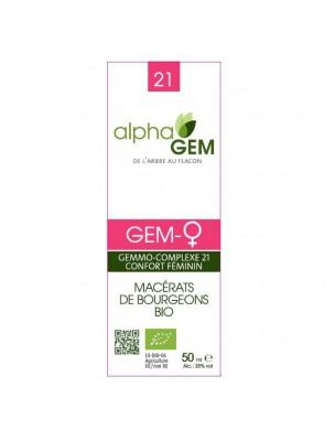 Gem-Femme ♀ Complexe n°21 Bio - Confort féminin 50 ml - Alphagem