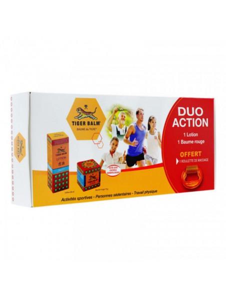 Coffret Duo Action - 1 lotion, 1 baume du tigre rouge et 1 roulette de massage - Tiger Balm