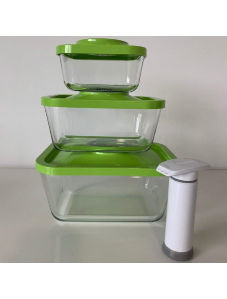 Kit de départ comprenant 3 boîtes sous vides rectangulaires en verre (0.5, 1.5 et 3 Litres) avec pompe manuelle - Status