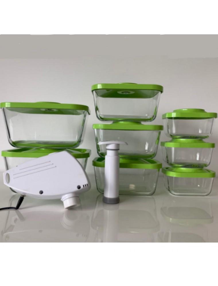 Kit de 8 boîtes sous vides rectangulaires en verre (0.5, 1.5 et 3 Litres) avec pompe manuelle et pompe électrique - Status