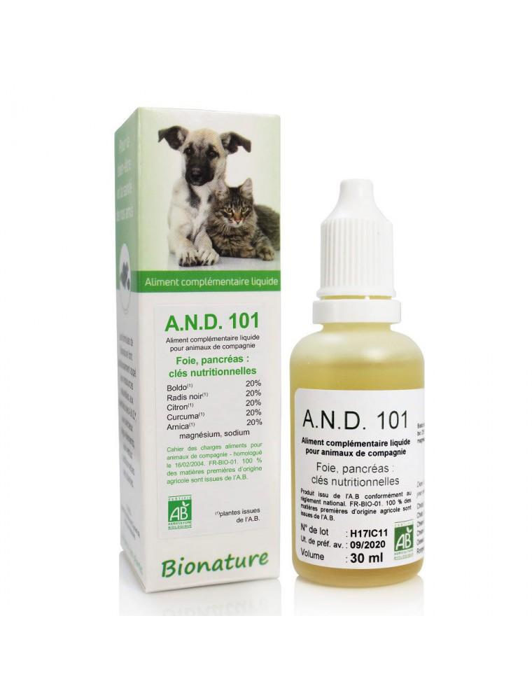 Foie et digestion des animaux Bio - A.N.D 101 30 ml - Bionature