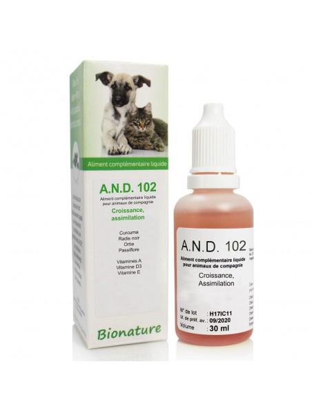 Croissance & Assimilation des animaux Bio - A.N.D 102 30 ml - Bionature