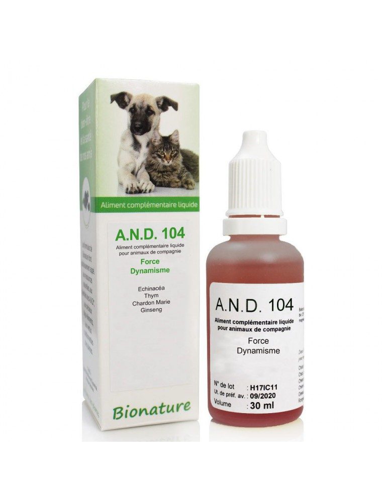 Force et Dynamisme des animaux Bio - A.N.D 104 30 ml - Bionature