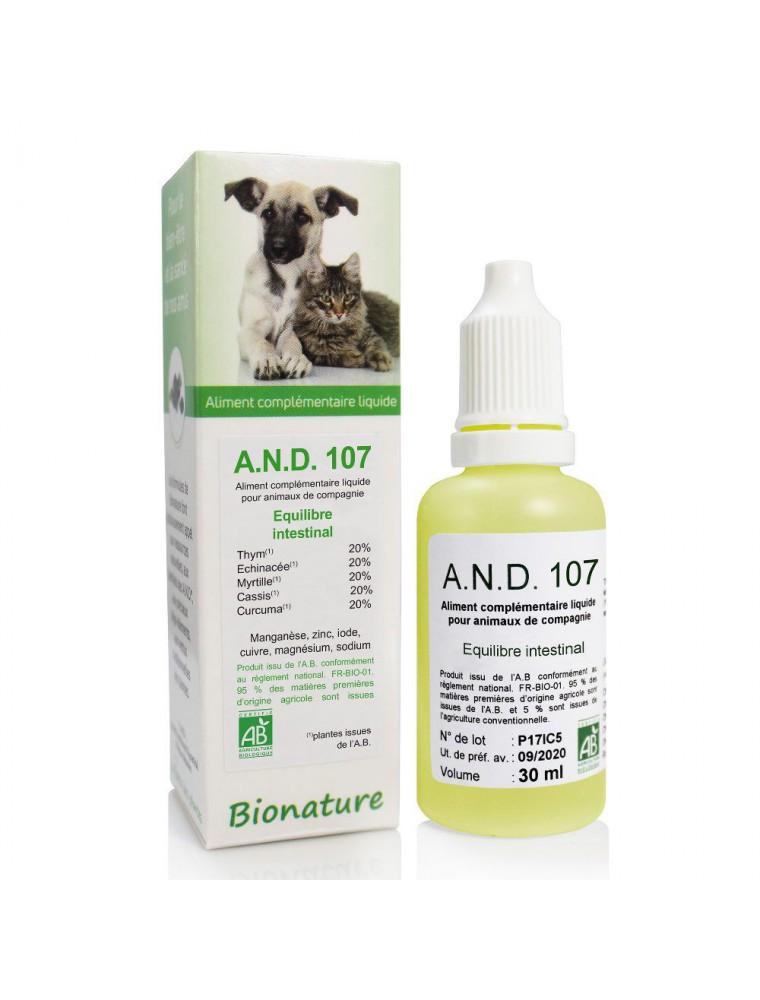 Transit et Équilibre intestinal des animaux Bio - A.N.D 107 30 ml - Bionature