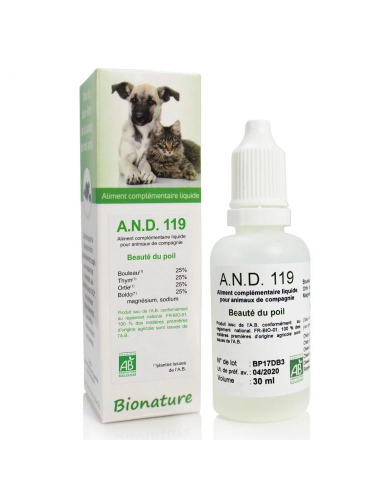 Beauté du poil des animaux Bio - A.N.D 119 30 ml - Bionature