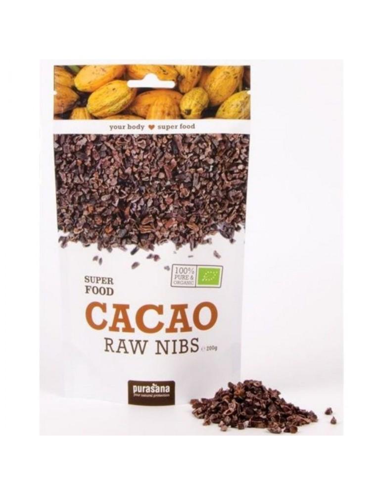 Éclats de Fèves de cacao Bio - Magnésium et Antioxydants SuperFoods 200g - Purasana
