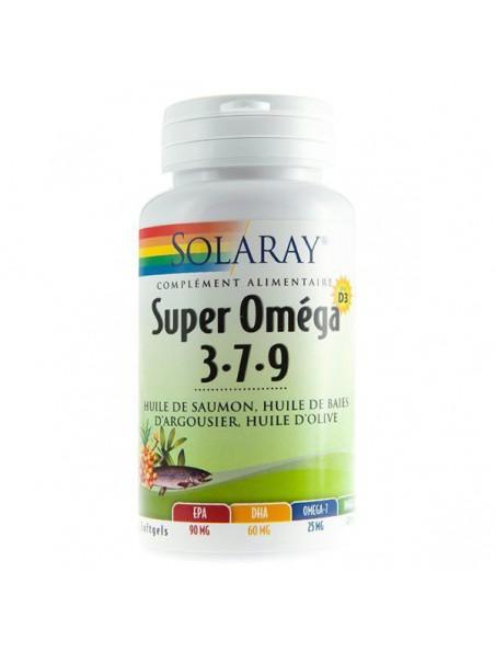 Super Oméga 3 7 9  et D3 - Huiles de Saumon, de baies d'Argousier, d'Olive 60 capsules - Solaray