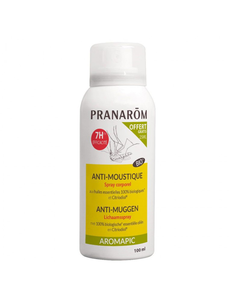 Spray Corps anti-moustiques Aromapic Bio - Répulsif corporel 75 ml + 25 ml offerts - Pranarôm