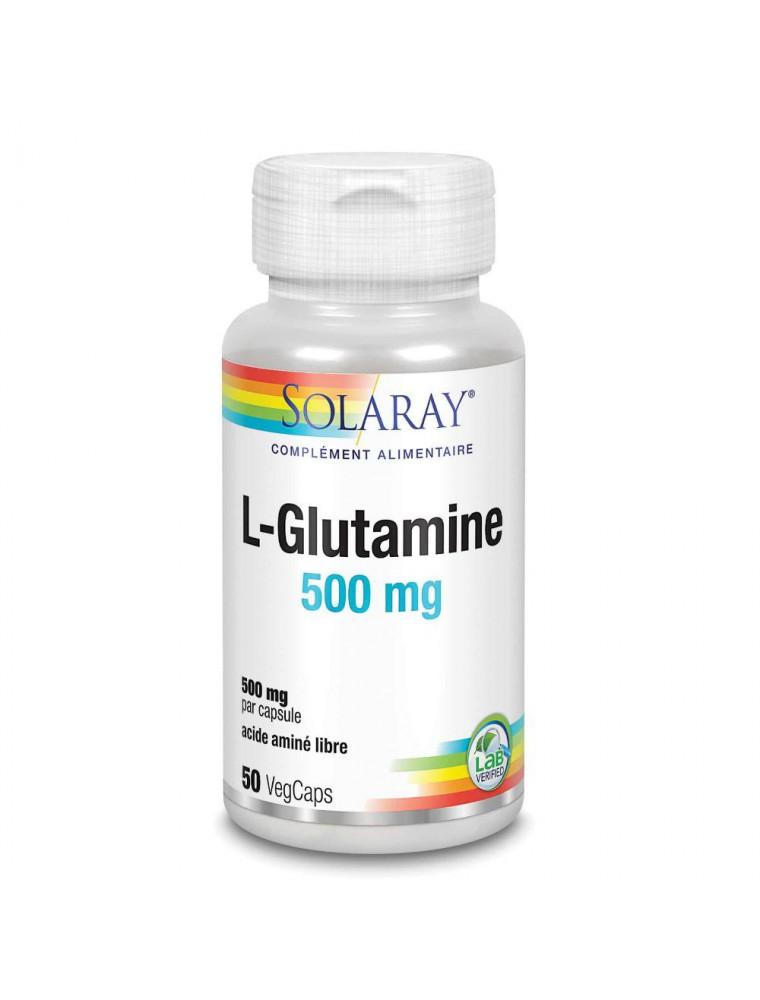 L-Glutamine 500 mg - Digestion et Flore intestinale 50 capsules végétales - Solaray