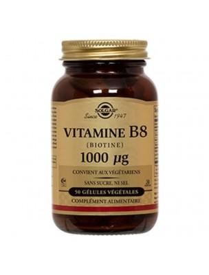 Biotin (Vitamine B8) 1000 µg - Chute des cheveux 50 gélules végétales - Solgar