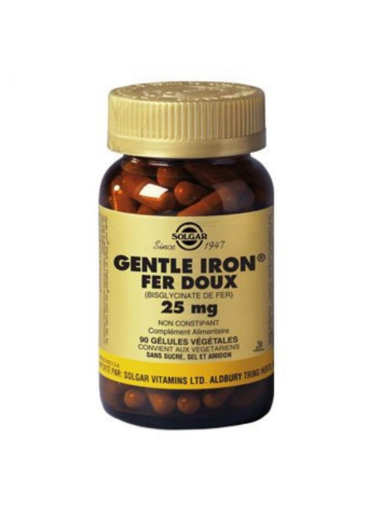 Fer doux (Gentle Iron) 25 mg - Maintien du taux de fer 90 gélules - Solgar