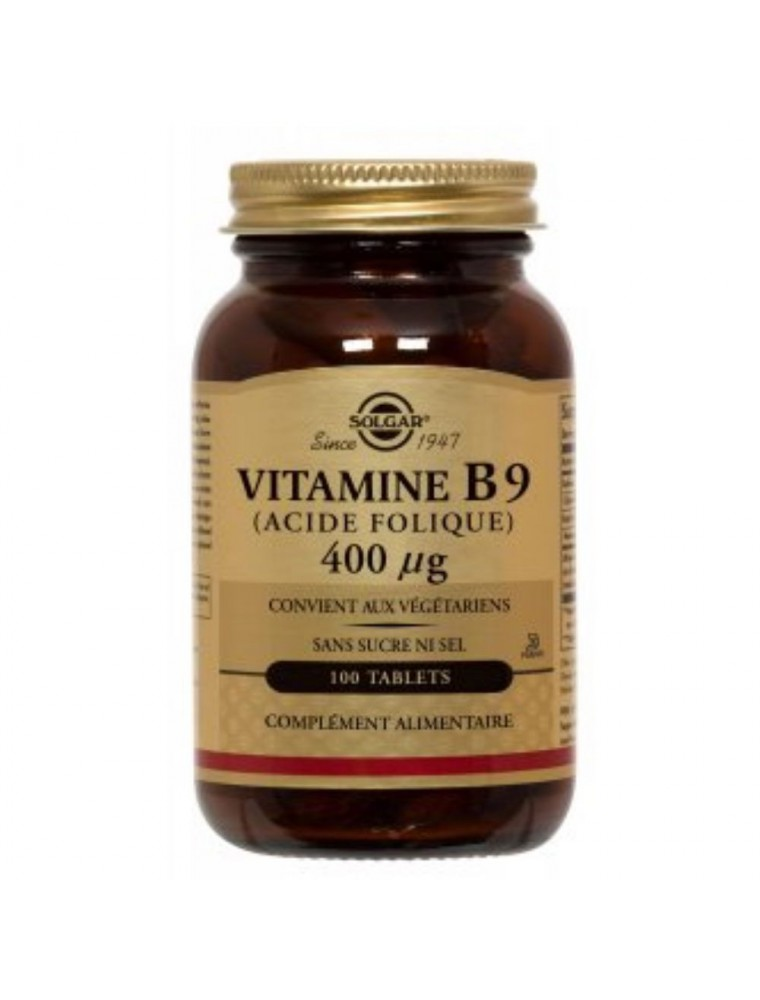 Vitamine B9 (acide folique) 400 µg - Formation des globules rouges 100 comprimés - Solgar