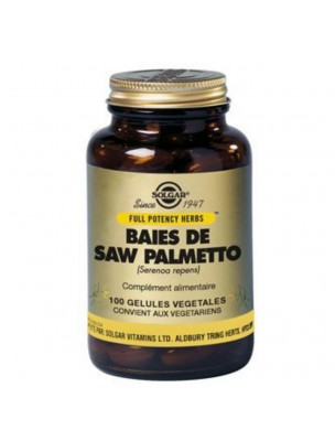 Saw Palmetto (Serenoa repens) - Prostate 100 gélules végétales - Solgar