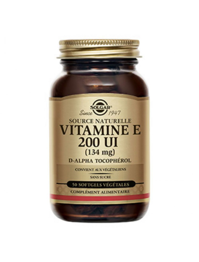 Vitamine E 200 UI (132 mg) - Antioxydant 50 softgels - Solgar