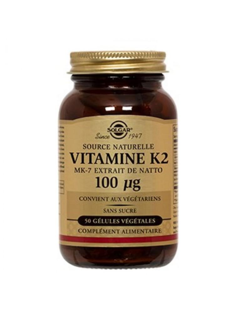 Vitamine K2 naturelle (MK-7) 100 µg - Solidité des os et coagulation 50 gélules - Solgar