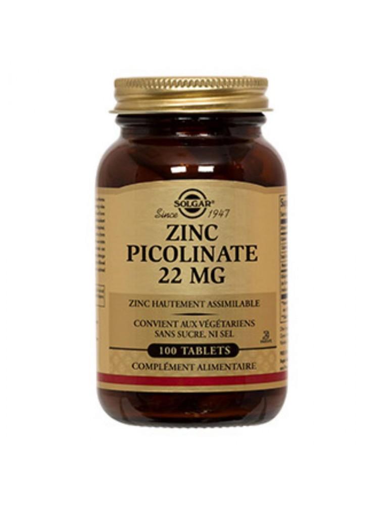 Zinc picolinate 22 mg - Peau, ongles et cheveux 100 comprimés - Solgar