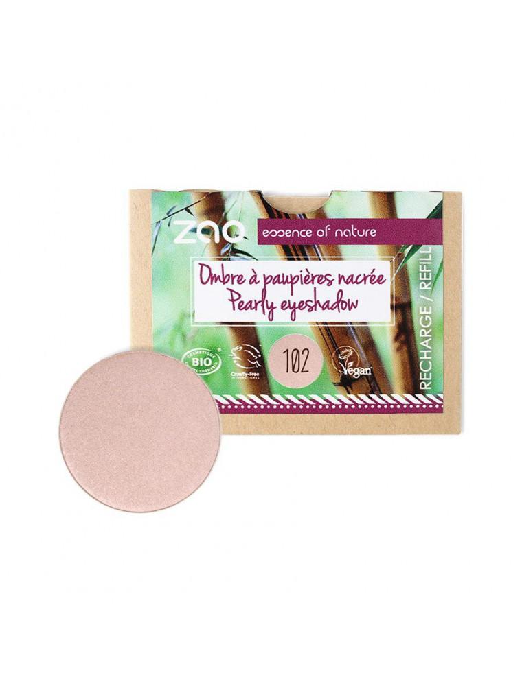 Recharge Ombre à paupières nacrée Bio - Beige rose 102 3 grammes - Zao Make-up