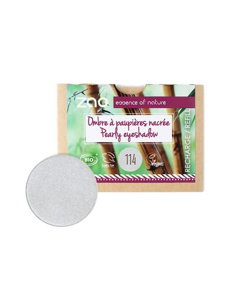 Recharge Ombre à paupières nacrée Bio - Argent 114 3 grammes - Zao Make-up