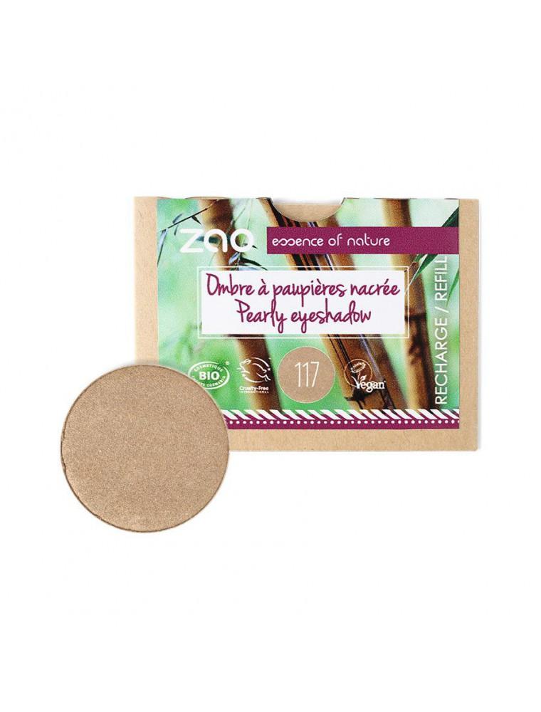 Recharge Ombre à paupières nacrée Bio - Bronze rosé 117 3 grammes - Zao Make-up