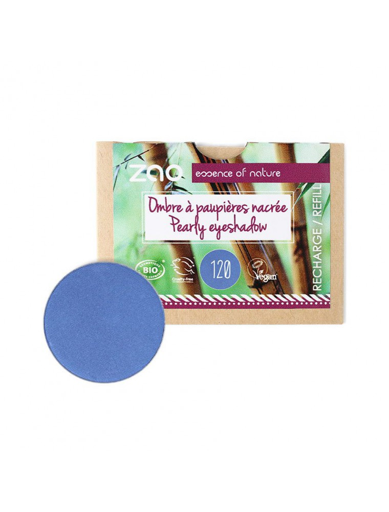 Recharge Ombre à paupières nacrée Bio - Bleu Roy 120 3 grammes - Zao Make-up