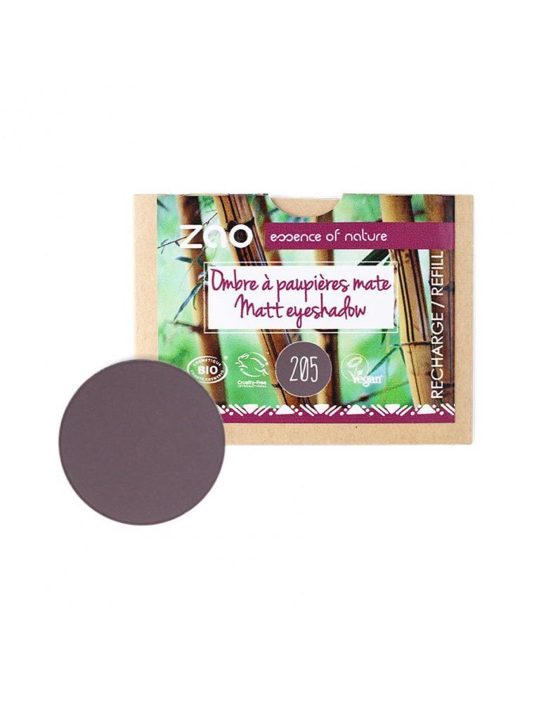 Recharge Ombre à paupières mate Bio - Violet sombre 205 3 grammes - Zao Make-up