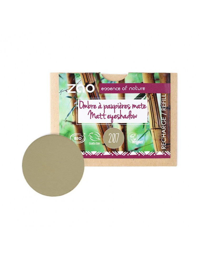 Recharge Ombre à paupières mate Bio - Vert olive 207 3 grammes - Zao Make-up