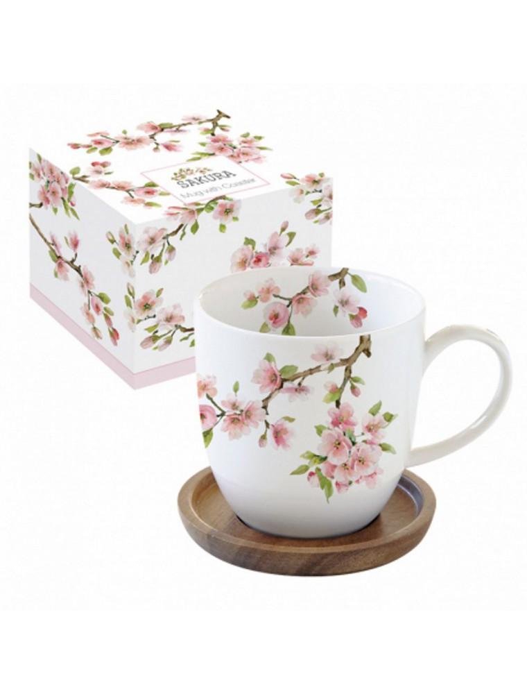 Coffret Mug Cerisier en Porcelaine 35 cl