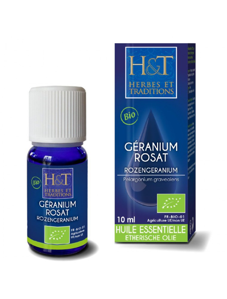 Géranium rosat Bio - Huile essentielle de Pelargonium graveolens 10 ml - Herbes et Traditions