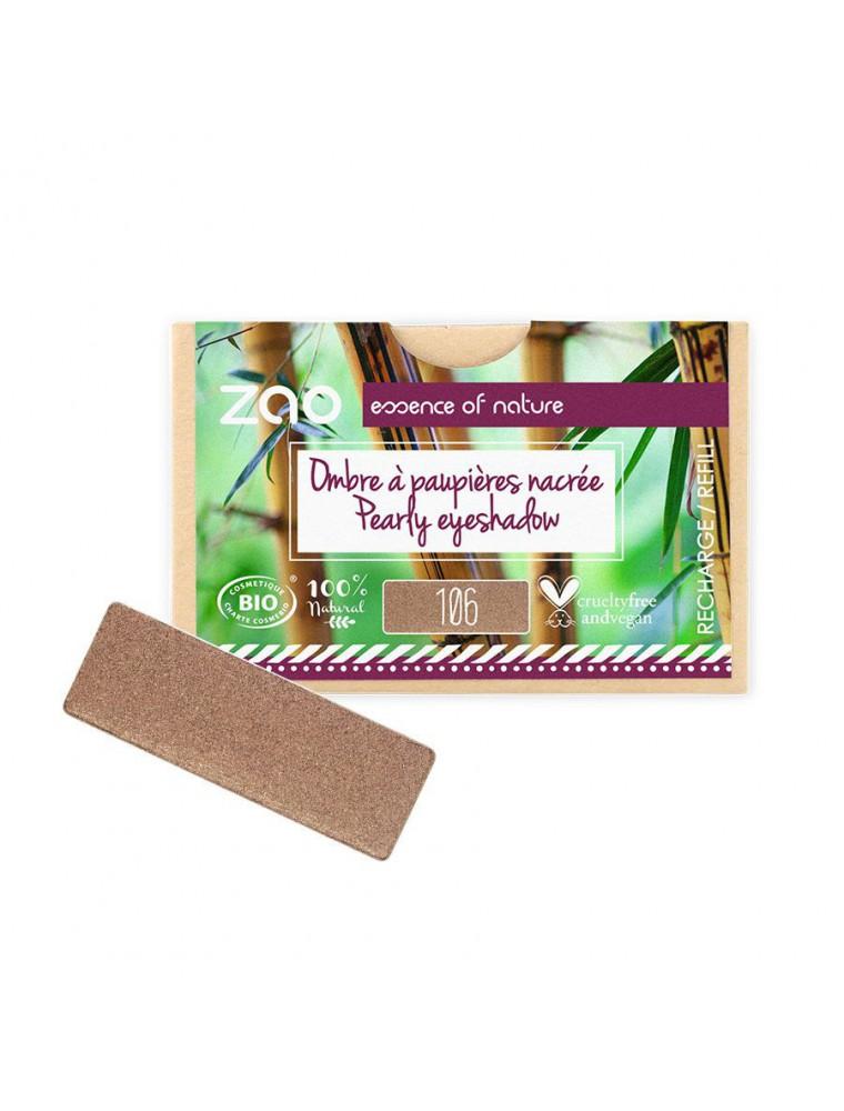 Recharge Ombre à paupières rectangle Bio - Bronze 106 3 grammes - Zao Make-up