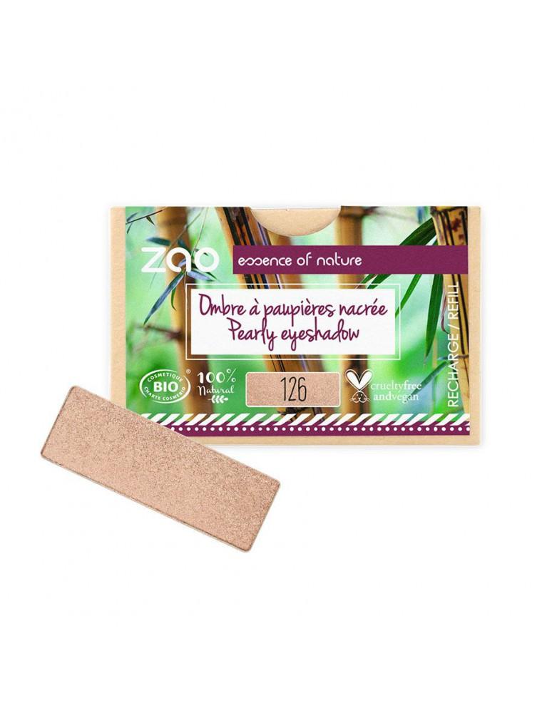 Recharge Ombre à paupières rectangle Bio - Pétale dorée 126 3 grammes - Zao Make-up