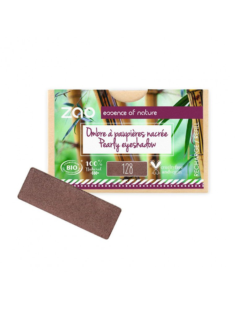 Recharge Ombre à paupières rectangle Bio - Tiramisu 128 3 grammes - Zao Make-up
