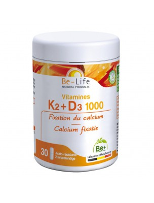 Vitamines K2 et D3 800 UI - Fixation du calcium 30 gélules - Be-Life
