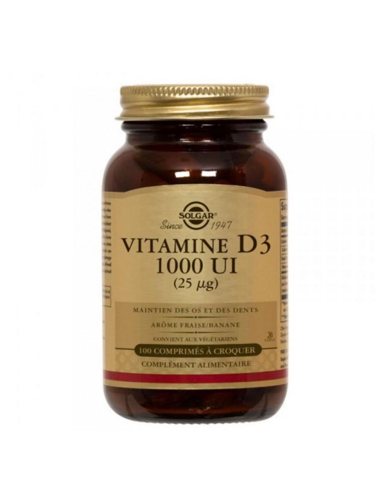 Vitamine D3 1000UI - Os et défenses immunitaires 100 comprimés à croquer - Solgar