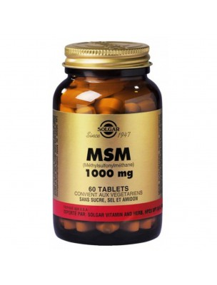 MSM 1000mg - Soufre organique 60 tablette - Solgar