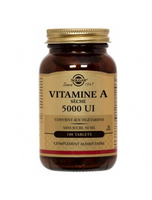 Vitamine A sèche - Peau 100 comprimés - Solgar