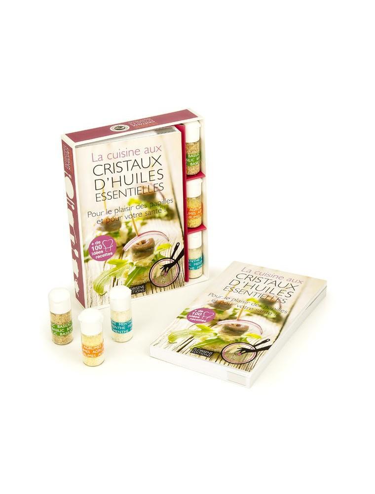 """Coffret """"La cuisine aux cristaux d'huiles essentielles"""" - Livre et cristaux d'huiles essentielles"""