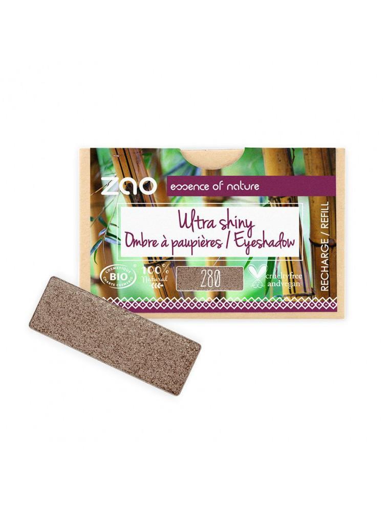 Recharge Ombre à paupières rectangle Bio Cacao satin 280 3 grammes - Zao Make-up