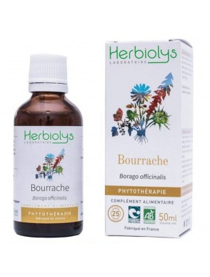 Bourrache Bio - Troubles féminins Teinture-mère Borago officinalis 50 ml - Herbiolys