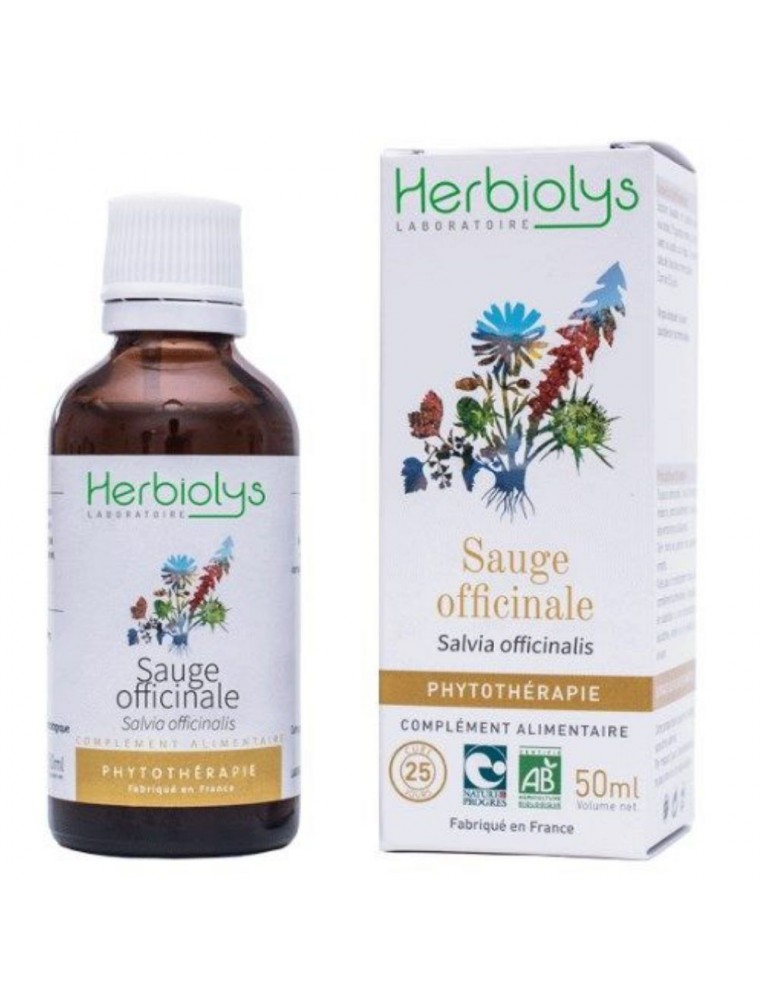 Sauge officinale Bio - Digestion et Transpiration Teinture-mère Salvia officinalis 50 ml - Herbiolys