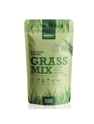 Mélange de jus d'herbes en poudre Grass Mix Bio - Orge, Blé et Luzerne...