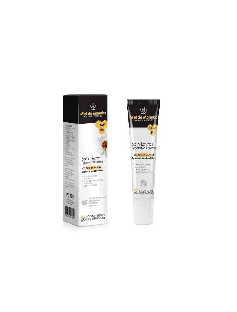 Soin des lèvres au miel de Manuka Bio - Réparation extrême 15 ml - Comptoirs et Compagnies