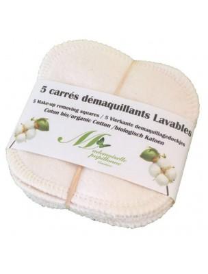 Carrés Démaquillants - Coton Bio 5 Carrés - Mademoiselle Papillonne